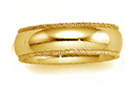 14K Yellow Gold Milgrain Half Round Wedding Bands