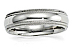 14K White Gold Double Milgrain Wedding Bands