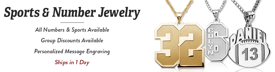 Sports number jewelry personalized sports number charms and pendants mozeypictures Gallery